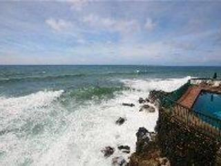 The dramatic view from the lanai, oceanfront experience for your tropical getaway. - Poipu Shores #102B New Remodel One BR Oceanfront! - Poipu - rentals