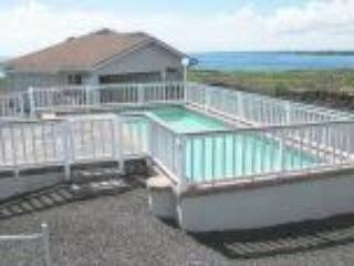 Entrance to home with pool, washer, dryer in garage, outside seating, barbecue and great view - House of Love by the Sea/ Salt Pool & Ocean Front - Keaau - rentals