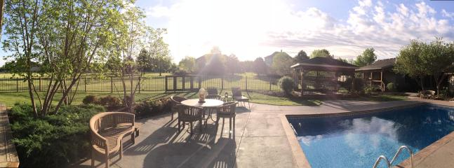 Panorama of House and Back Yard (Guest home on right) - Beautifully Furnished 1+Bedroom Guest House plus Pool Access! - Overland Park - rentals