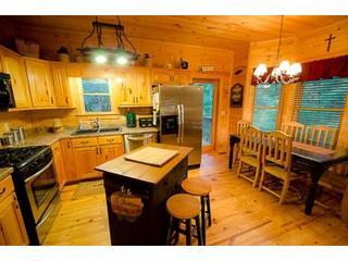 Fully equipped and stocked kitchen with 5-burner gas range, stainless steel appliances and center island - Bucky And Doe Doe's Place * HOT TUB* Resort - Ellijay - rentals
