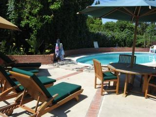 Relaxing back yard area - Anaheim vacation rental walk to Disneyland with pool, spa and playroom - Anaheim - rentals