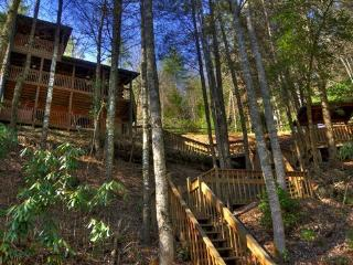Above the River- 2BR/2BA- CABIN WITH TOCCOA RIVER ACCESS, SLEEPS 6, DECK ACCESS FROM EACH BEDROOM, GAZEBO OVERLOOKING THE WATER, HOT TUB, FOOSBALL, PING PONG, GAS LOG FIREPLACE AND WIFI! ONLY $135 A NIGHT! - Blue Ridge vacation rentals
