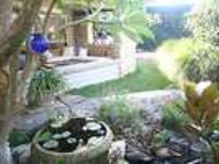 View through frangipani and pond to front veranda - North Avalon beachside Holiday Cottage - Avalon - rentals