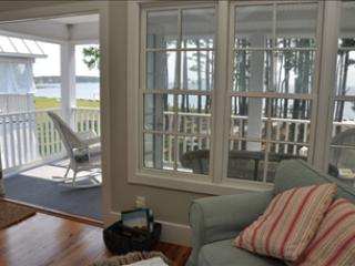Porch overlooking the Neuse River is right off of Living Room - Neuse Village Cottage #8 101239 - Arapahoe - rentals