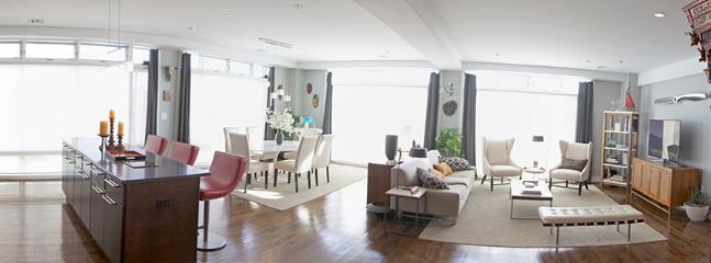 Panorama of kitchen to living area - summerRental -  Modern 2BR Loft!-Parking! $24K - Asbury Park - rentals