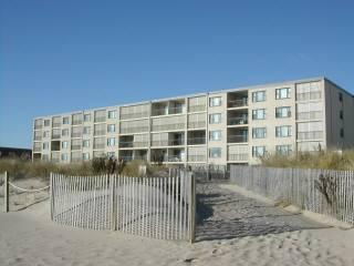 View from the ocean toward condo in upper right corner one level below the top condo. - NICE Constellation House OCEANFRONT Condo-52nd St! - Ocean City - rentals