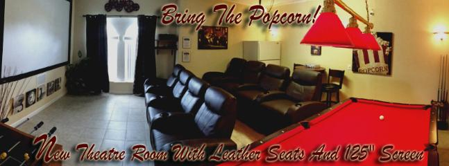 """Theatre Room with 10 foot screen and multi level leather theatre seating! - 125"""" THEATRE ROOM!!  5 Bedroom - 5 Bath  ULTRA LUX - Haines City - rentals"""
