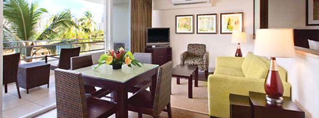 Spacious, Modern Living Room with Sleeper Sofa - Modern Luxury in Waikiki - Regency on Beachwalk - Honolulu - rentals