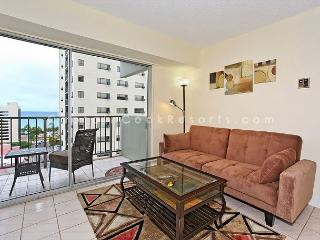 Great ocean-view one-bedroom with central AC; 5 min walk to beach, sleeps 3. - Waikiki vacation rentals