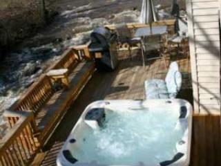Rear deck before 4 inch tnsullated cover, Protect from snow rain & Sun, 4 inch insulation - 3Br HOT TUB 20ft above River, FIRE PLACE, GAMEROOM - Bat Cave - rentals