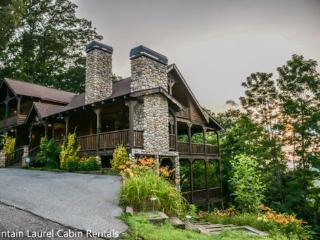THE CREEKHOUSE- 4BR/3.5BA, SLEEPS 8, CABIN WITH BREATHTAKING MOUNTAIN VIEWS, WIFI, POOL TABLE, HOT TUB, GAS GRILL, PET FRIENDLY, GAS LOG FIREPLACE, WALKING DISTANCE TO THE LODGE, CAMELOT, AND BEAR NECESSITIES, $250/NIGHT! - Blue Ridge vacation rentals