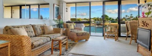 living room - Free Car* Kuhio Shores 208 - Beautiful 1bd oceanfront with stunning ocean views. Next door to Lawai Beach. - Poipu - rentals