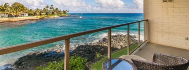 lanai - Free Car* with Kuhio Shores 207 - Spectacular oceanfront 1bd with awesome ocean views. Watch the sea turtles from your lanai. - Poipu - rentals